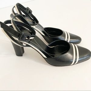 Kate Spade black and white ankle wrap heels